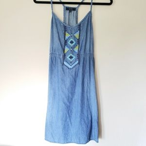 Jessica Simpson Chambray Dress with Embroidered